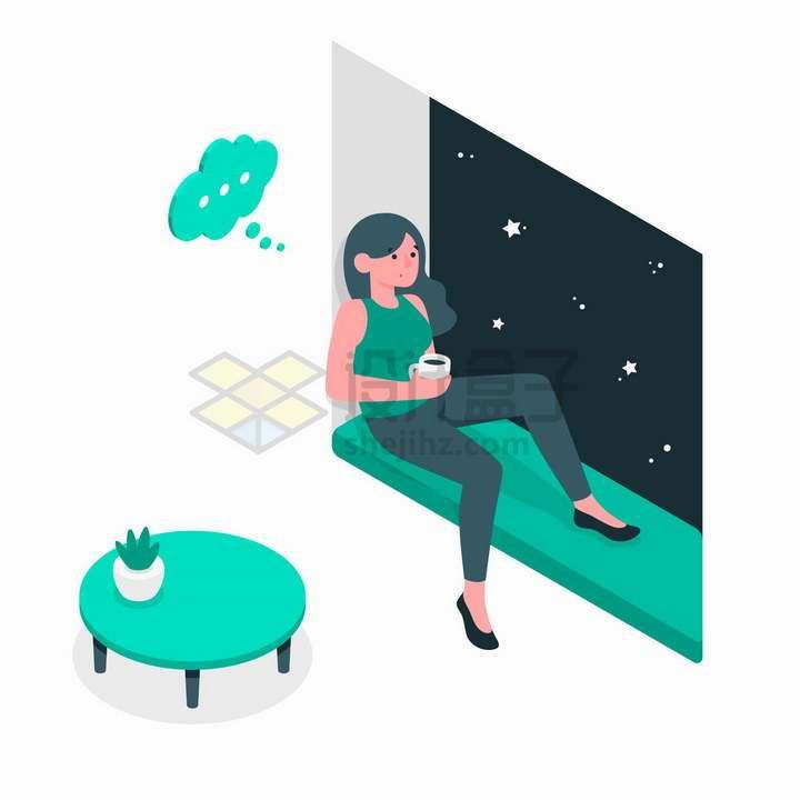 扁平插画风格女孩端着咖啡杯子坐在窗台上思考问题png图片免抠矢量素材