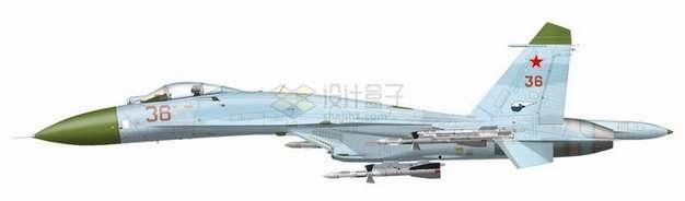 苏27侧卫战斗机侧视图870327png免抠图片素材