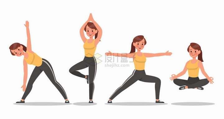 正在练习瑜伽动作的黄衣女孩png图片免抠矢量素材
