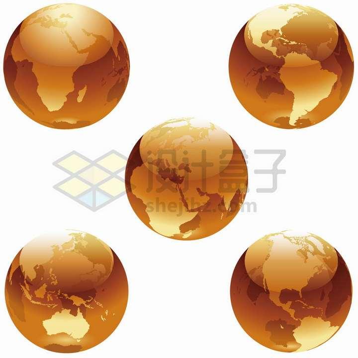 5款橙色水晶风格地球模型png图片免抠矢量素材