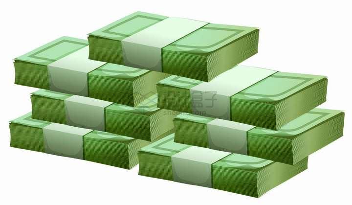 堆在一起的卡通绿色美元钞票现金png图片免抠eps矢量素材