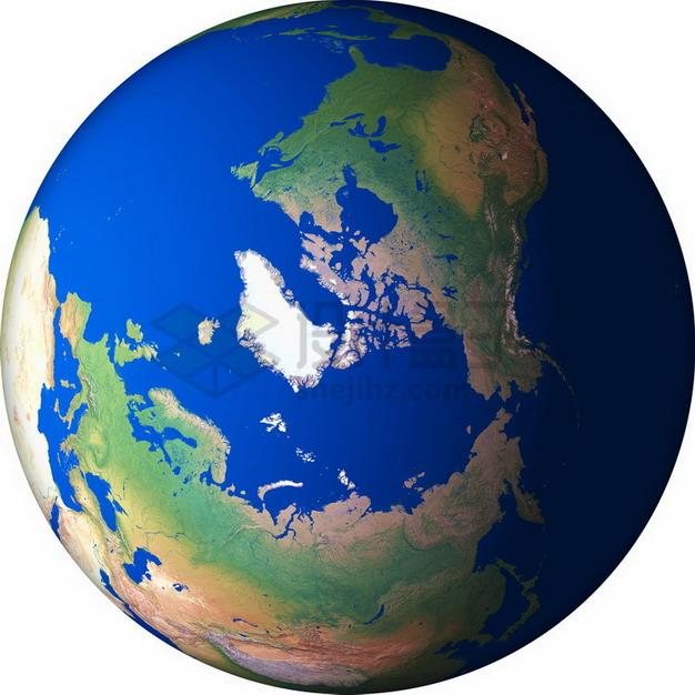 高清地球定位在北极北冰洋和格陵兰岛png免抠图片素材 科学地理-第1张