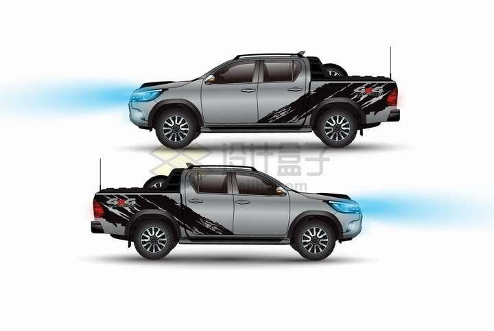 两辆银灰色皮卡汽车侧面图png图片免抠矢量素材