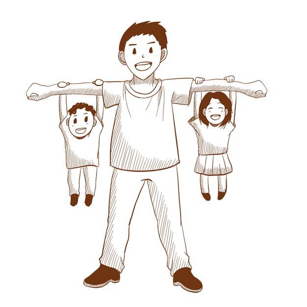 爸爸手臂上吊着儿子和女儿父亲节素描插画506656png图片素材