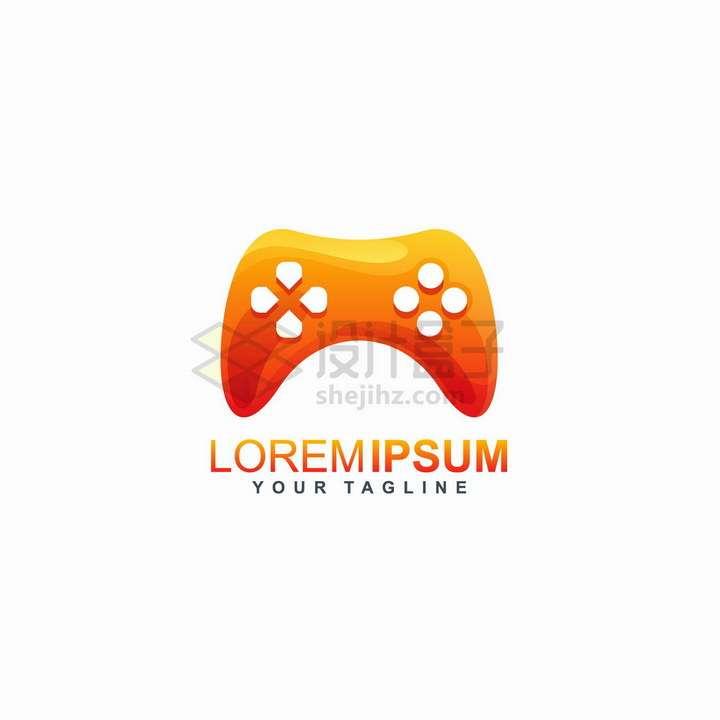 橙色游戏机手柄控制器游戏公司logo设计png图片免抠矢量素材