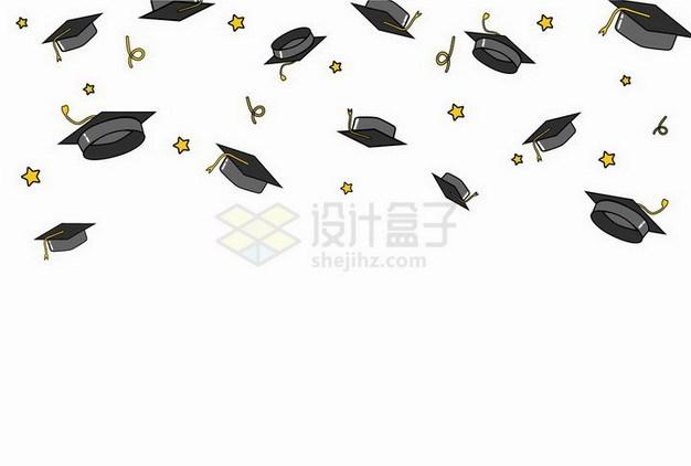 毕业季抛到半空中的博士帽学士帽png图片免抠矢量素材 教育文化-第1张