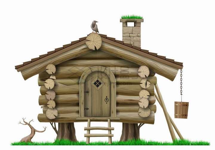 逼真的小木屋png图片免抠矢量素材