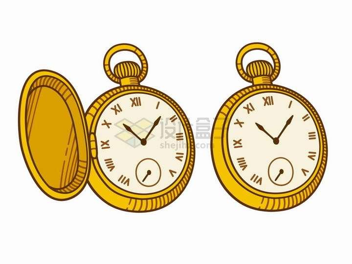 手绘卡通风格金色的怀表复古手表png图片免抠矢量素材