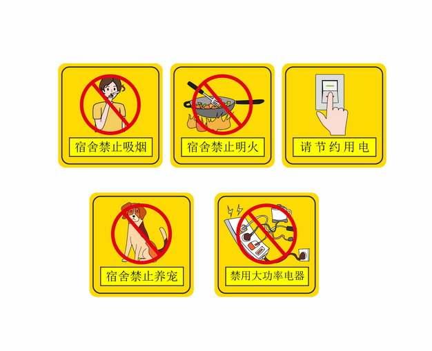 宿舍禁止吸烟明火养宠大功率电器请节约用电黄色标志牌警示牌217739AI矢量图片素材