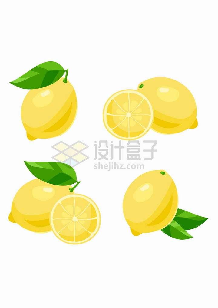 4款黄色的柠檬美味水果png图片免抠矢量素材
