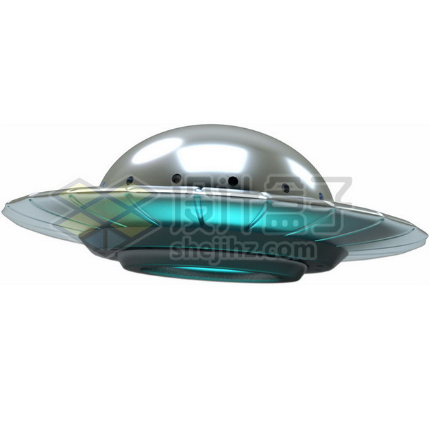 3D立体卡通飞碟UFO不明飞行物png图片素材134726 军事科幻-第1张