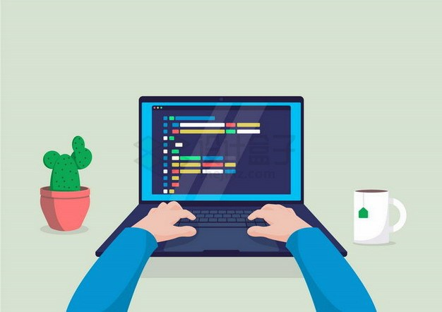 扁平插画风格正在使用电脑的双手和周围的仙人掌咖啡杯png图片免抠矢量素材 IT科技-第1张