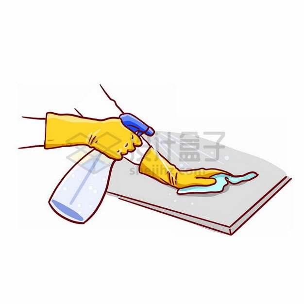 拿着洗涤剂正在用抹布擦桌子打扫卫生png免抠图片素材