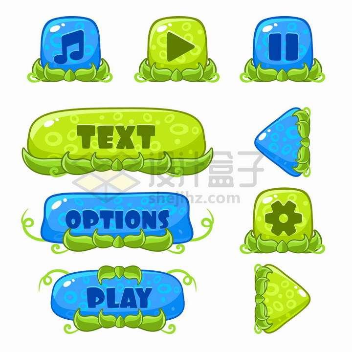 各种卡通自然水晶风格的游戏按钮png图片免抠矢量素材