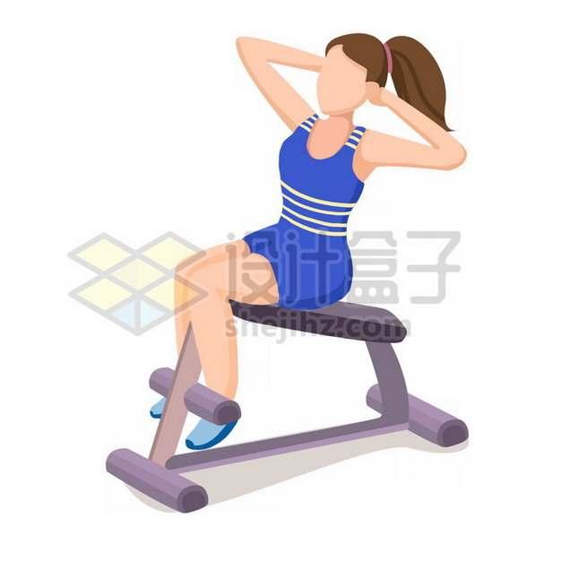 健身房卡通健身女孩仰卧板png图片素材534183