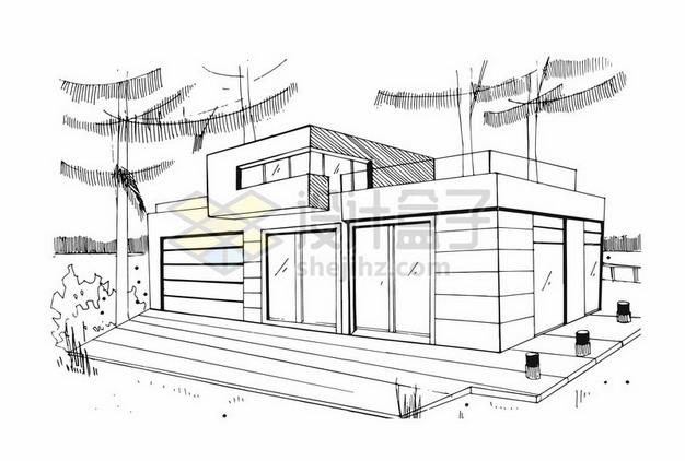 手绘线条别墅房子设计草图png图片素材