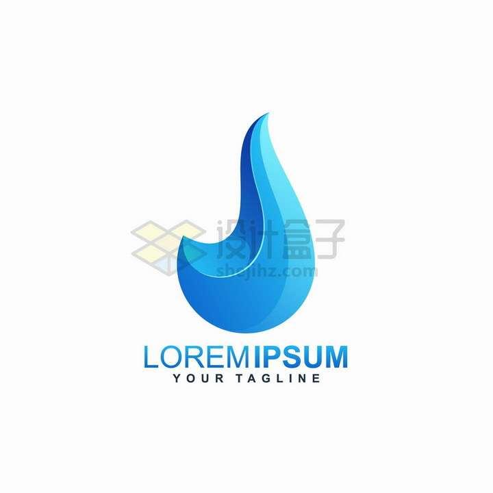 抽象弯钩蓝色水滴环保公司logo设计png图片免抠矢量素材