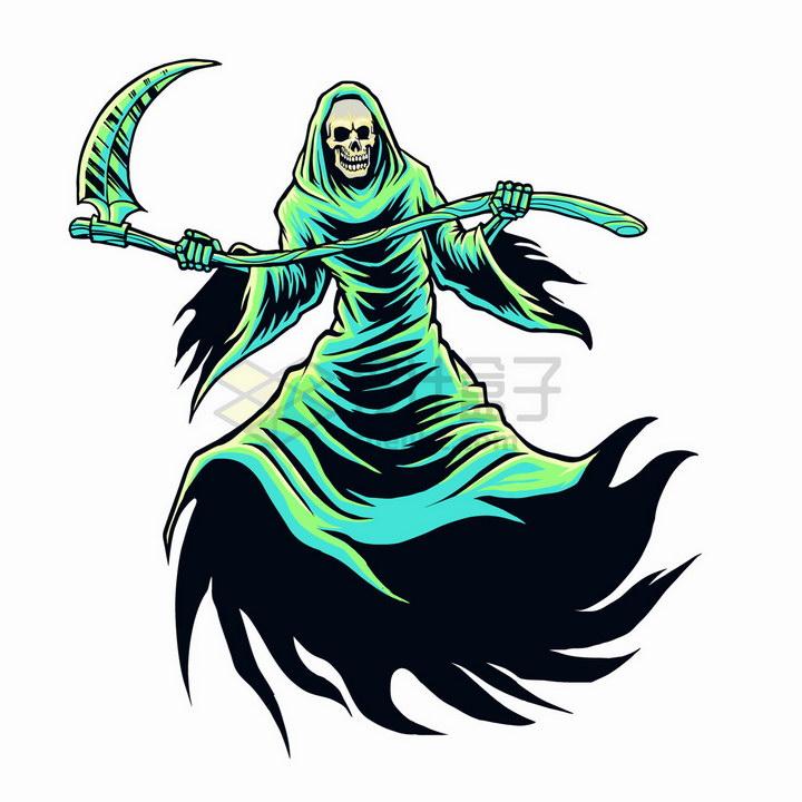 绿色的卡通死神png图片免抠矢量素材 人物素材-第1张