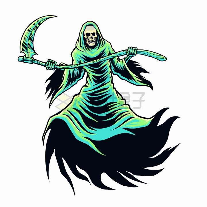 绿色的卡通死神png图片免抠矢量素材