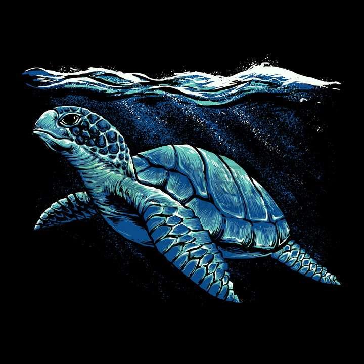 水面下的海龟艺术插画png图片免抠矢量素材