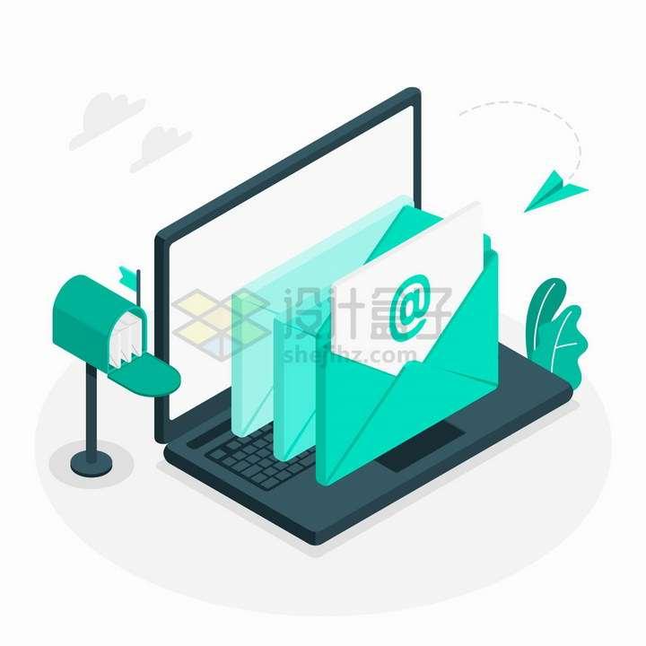 2.5D风格正在电脑上发送电子邮件png图片免抠矢量素材
