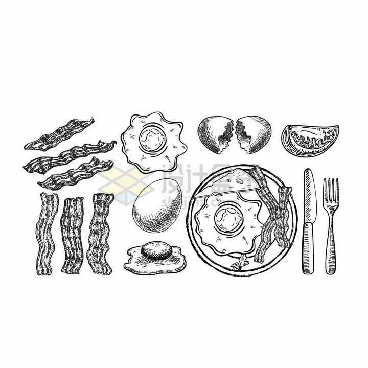 手绘风格的培根煎蛋美味早餐png图片免抠矢量素材 生活素材-第1张