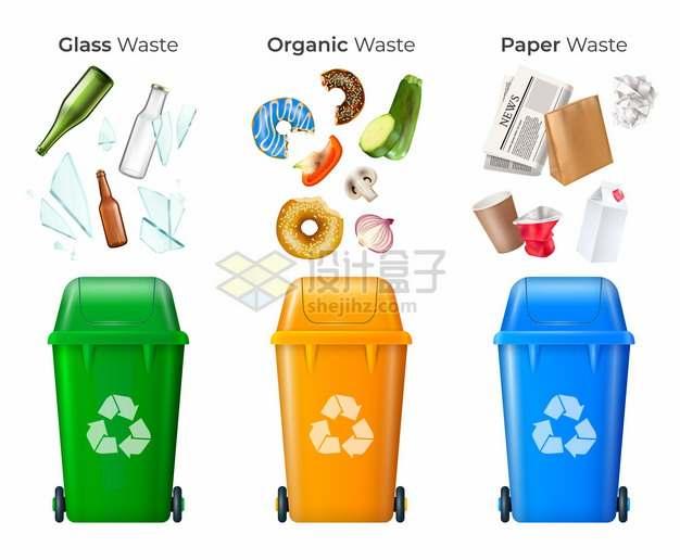 玻璃垃圾生活垃圾废纸垃圾桶垃圾分类插画271631png图片素材