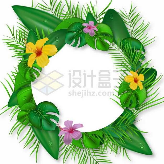 各种绿叶和鲜花组成的标题框文本框958658png图片素材