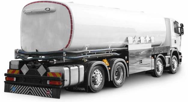白色槽罐车油罐车危险品运输卡车后视图838769png图片素材