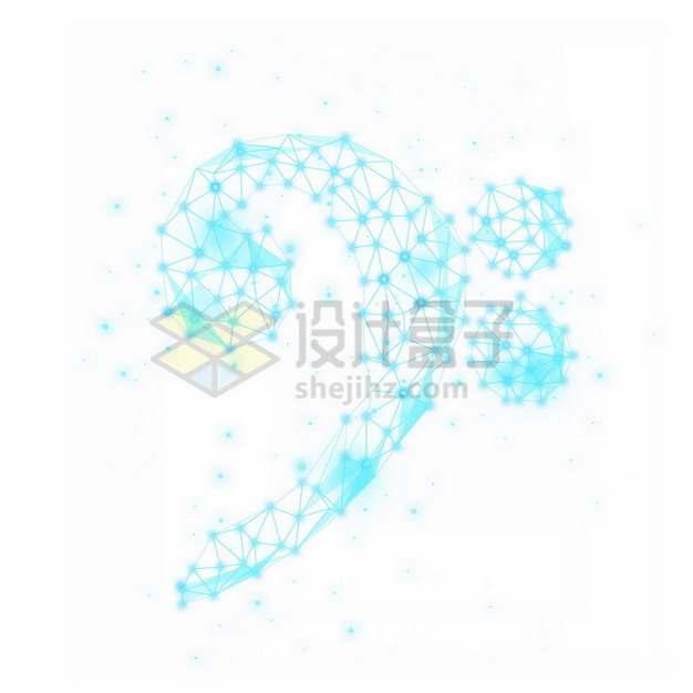 蓝色线条组成的音乐音符659234png免抠图片素材