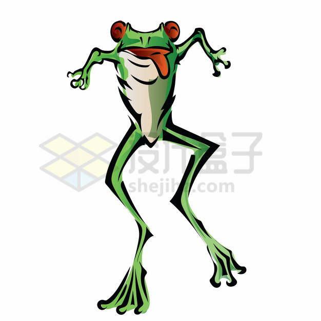 跳起来的手绘卡通绿青蛙png图片素材