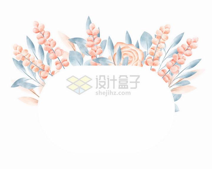 素雅风格红色小花和叶子椭圆形文本框标题框png图片免抠矢量素材 边框纹理-第1张