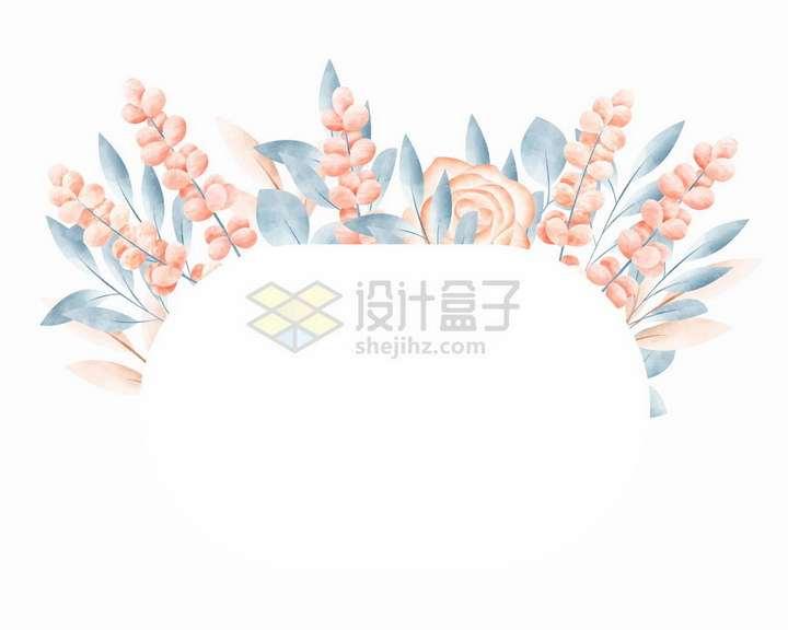 素雅风格红色小花和叶子椭圆形文本框标题框png图片免抠矢量素材