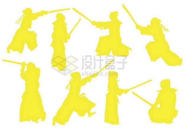 8款练习剑术击剑的黄色人物剪影349370png图片素材