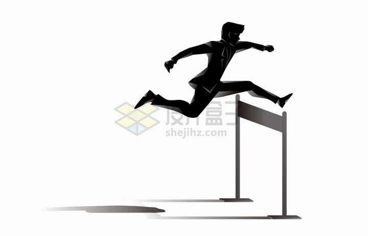 正在跨栏的商务人士象征了工作中遇到的困难png图片免抠矢量素材