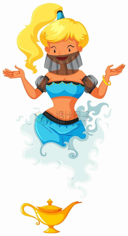 阿拉丁神灯中出来的卡通女神png图片免抠eps矢量素材