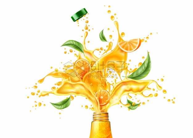 打开的瓶子中飞出的果汁液体飞溅效果广告插图png图片矢量图素材
