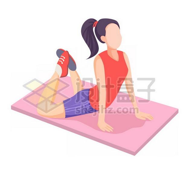 在瑜伽垫上健身的卡通女孩png图片素材112014 人物素材-第1张