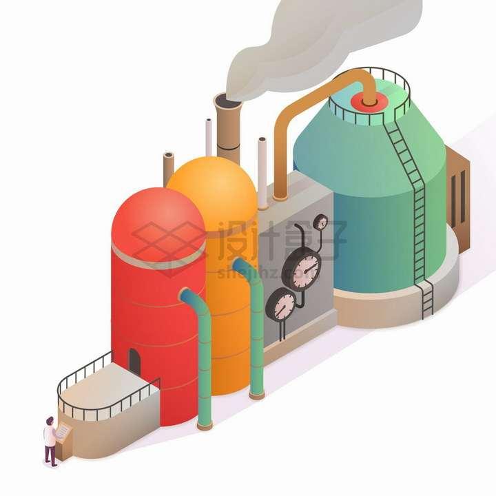 2.5D风格烟囱冒烟的工厂png图片免抠eps矢量素材