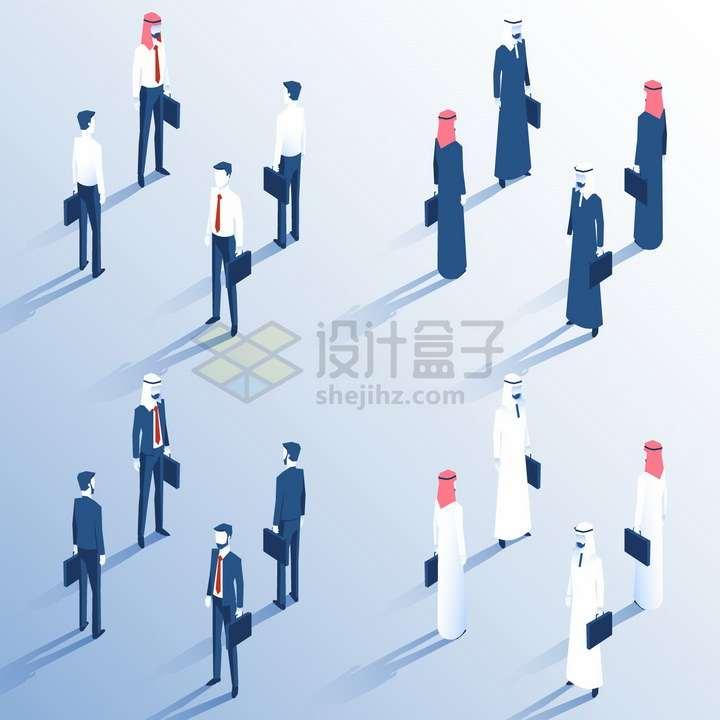 各种2.5D风格拎包行走的商务人士阿拉伯商人png图片免抠矢量素材