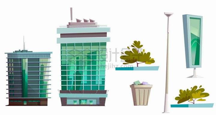 各种卡通风格高楼大厦垃圾桶路灯花坛和路边广告灯箱png图片免抠矢量素材