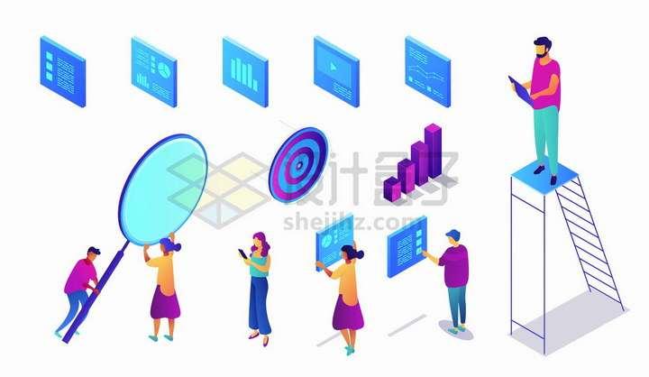 2.5D风格蓝色数据分析统计界面和程序员png图片免抠矢量素材
