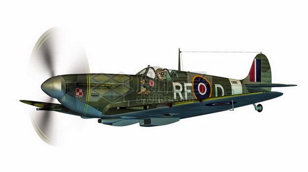 二战英国空军喷火式战斗机png免抠图片素材 军事科幻-第1张