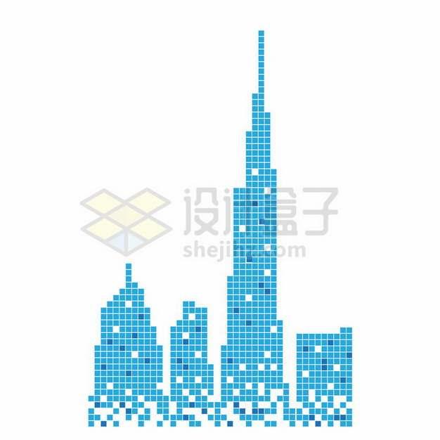 蓝色方块组成的高楼大厦城市天际线612001png图片素材