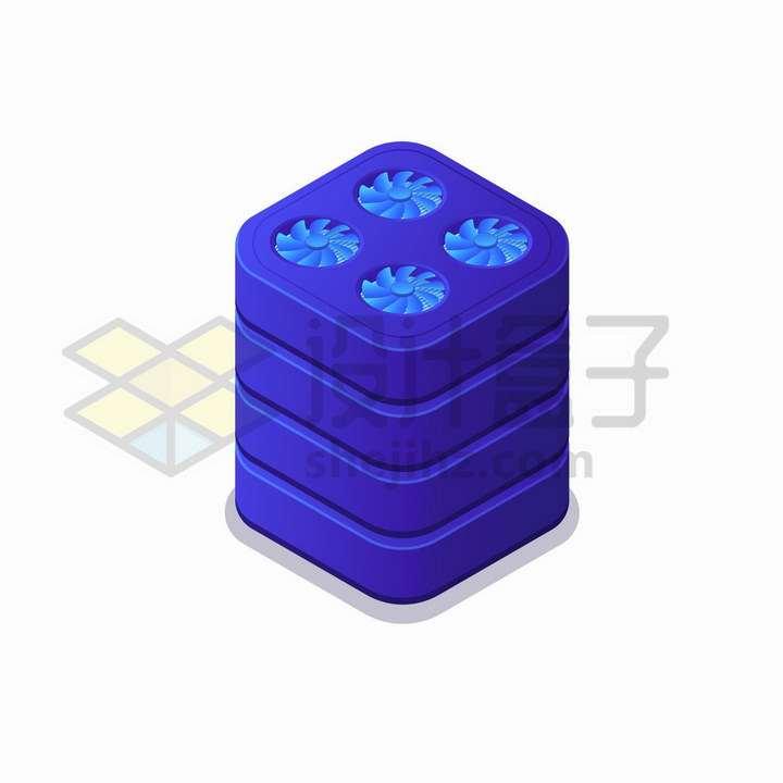 2.5D风格带散热扇的圆角紫色服务器机架png图片免抠矢量素材