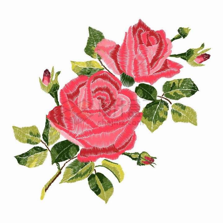 彩色线条勾勒的红色玫瑰花和绿色叶子png图片免抠矢量素材