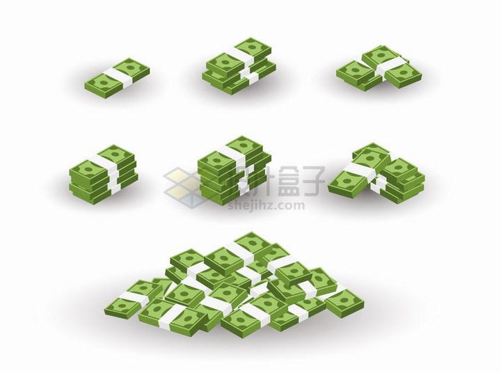 逐渐变多的绿色美元钞票png图片免抠矢量素材 金融理财-第1张