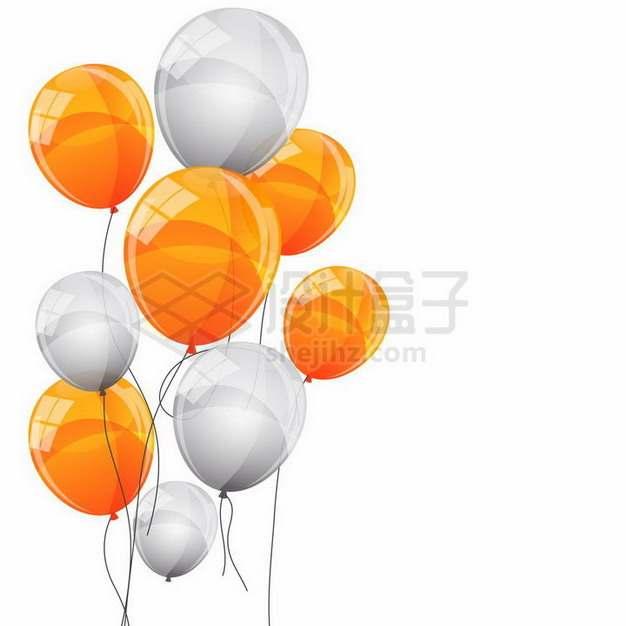 橙色和白色气球png图片免抠矢量素材