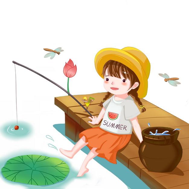 夏天卡通女孩坐在码头上钓鱼800626png图片素材
