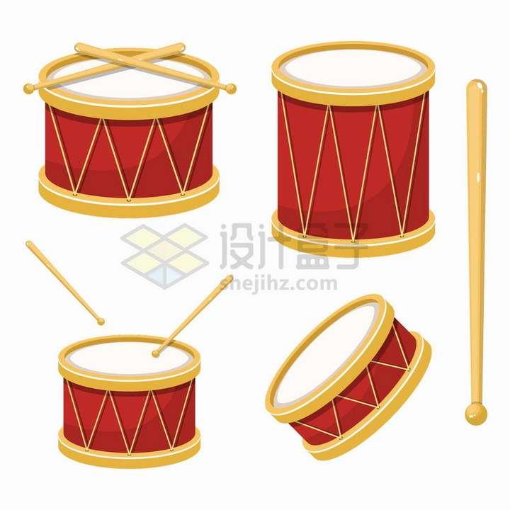 4种乐器鼓和鼓棒png图片免抠矢量素材